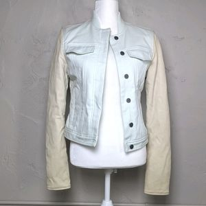T by Alexander Wang Leather Sleeve Bomber Jacket